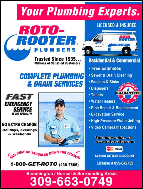 Plumbing Roto Rooter by Roto Rooter Plumbers Bloomington Il Yellowbook