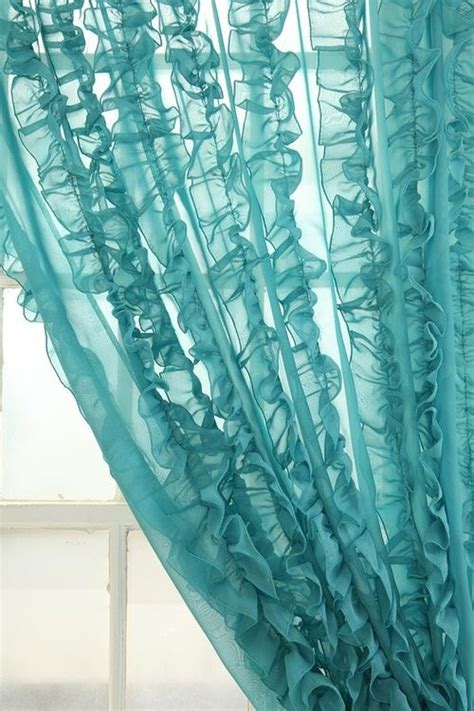 turquoise drapes curtains turquoise ruffled sheer curtains for the home