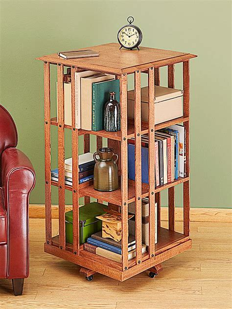woodworking plans rotating bookshelf