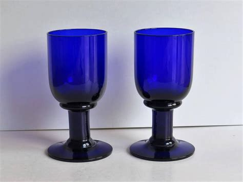 thick stem wine glasses pair of wine glasses or drinking goblets bristol blue