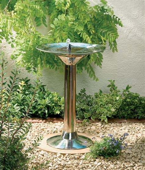 smart solar stainless steel birdbath 163 69 99