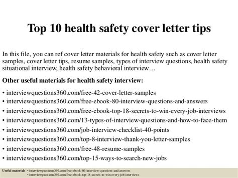 Health And Safety Consultant Cover Letter by Top 10 Health Safety Cover Letter Tips