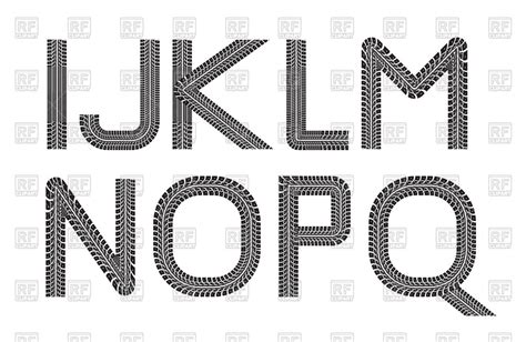 Where Can I Find For Free Tire Track Letters Royalty Free Vector Clip Image 74489 Rfclipart