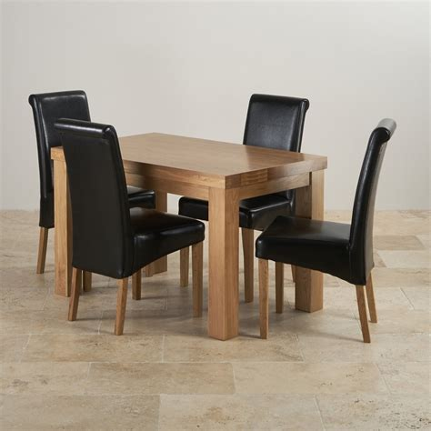 chunky 4ft solid oak dining table 4 black leather scroll