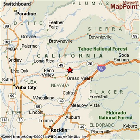 map of nevada and california with cities nevada city california