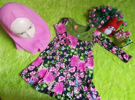 gamis anak hanbok tutu pink bunga plus khimar gamis anak bayi 1tahun humaira hijau bunga