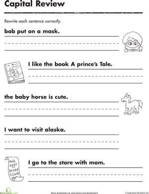 printable writing sentences worksheets practicing capitals worksheet education com
