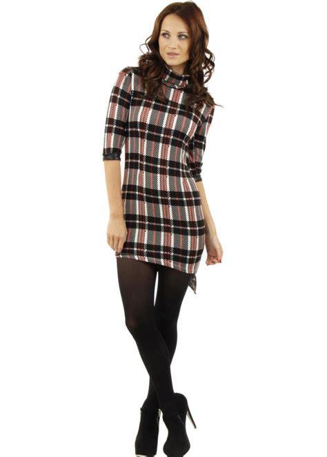 tartan dress tartan knitted mini dress tartan trend