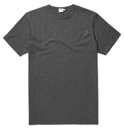 T Shirt Lasting 35 s classic cotton t shirt in charcoal melange sunspel