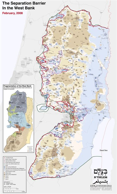 how big is the west bank separation barrier map west bank mapsof net