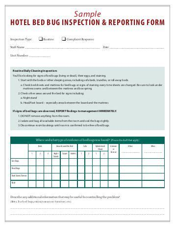 Bed Bug Inspection Template Sle Apartment Inspection Form