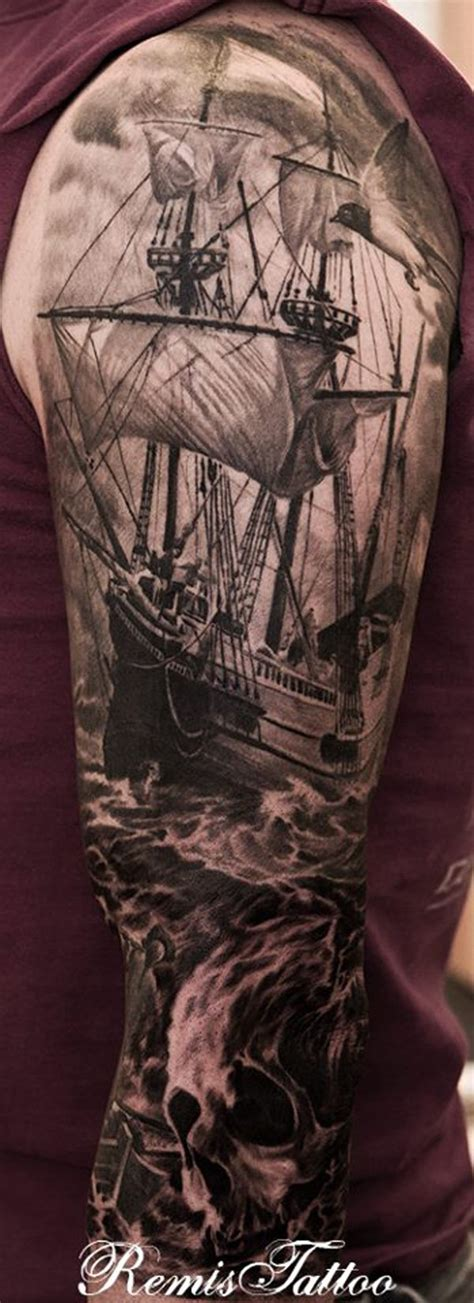 ship tattoo black and grey 66 pirate ship tattoos ideas