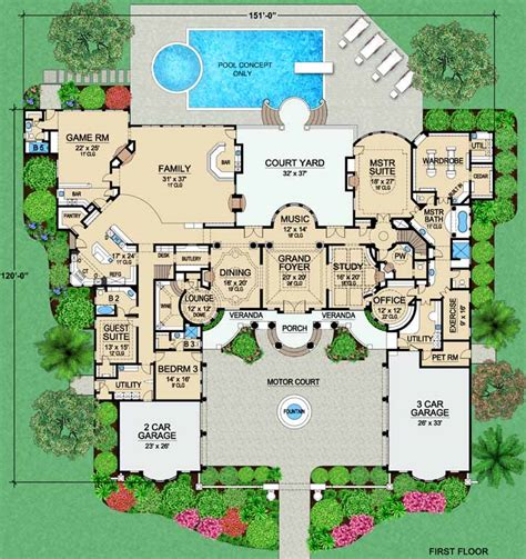 luxury mansion house plans luxury house plan 4 bedrooms 5 bath 9253 sq ft plan 63 309