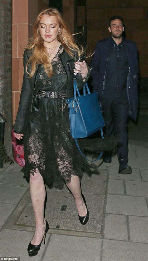 Lace Pumps A La Lindsay Lohan by Lindsay Lohan Dons Sheer Lace Dress On Out