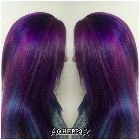 cosmic purple  blue pinwheel hair color