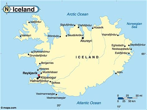 Reykjavik For The Country by Destination Iceland Travel And Tourist Information Map