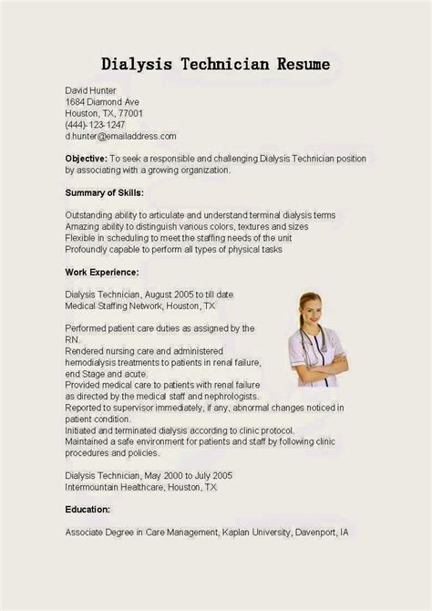 dialysis patient care technician resume sle resume