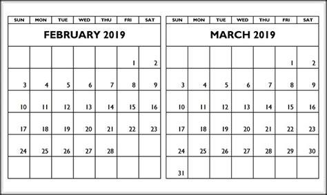 february march  calendar printable template   calendar printables