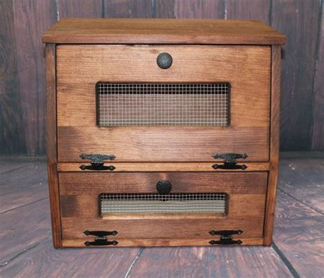 wood rustic bread box wooden vegetable potato bin storage