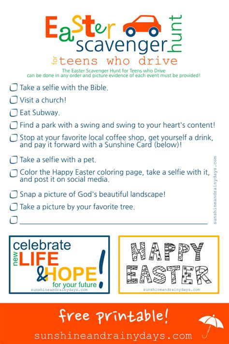 easter scavenger hunt easter scavenger hunt for teenagers who drive sunshine