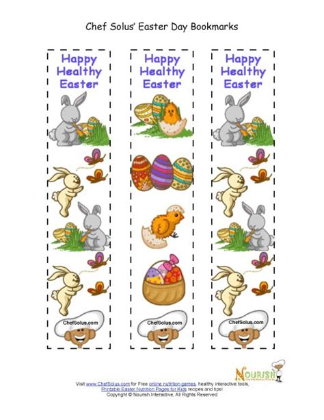 free printable nutrition bookmarks holiday 5 colorful easter themed fun bookmarks