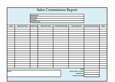 commission report template sales commission report template sle templates