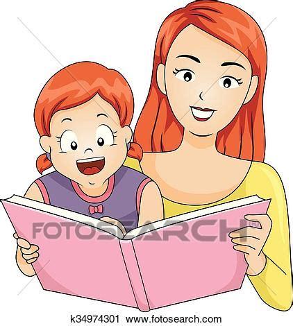 lire format eps clipart gosse girl m 232 re lire livre histoire