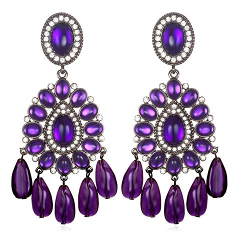 Purple Chandelier Earrings Kenneth Purple Chandelier Earrings In Purple Lyst