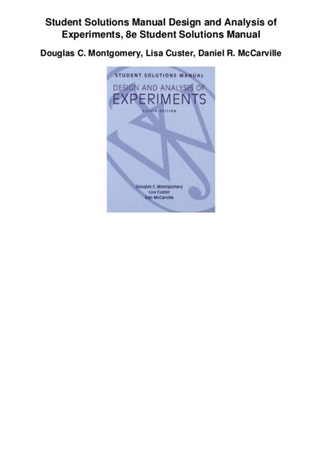 design of experiment manual student solutions manual design and analysis of