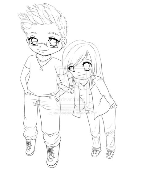 chibi couple coloring pages cute chibi base pose coloring pages