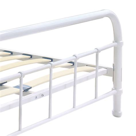 white platform bed frame white 4 ikayaa metal platform bed frame with wood slats