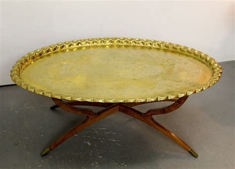 brass tray table base found in ithaca 187 regency oval brass tray table