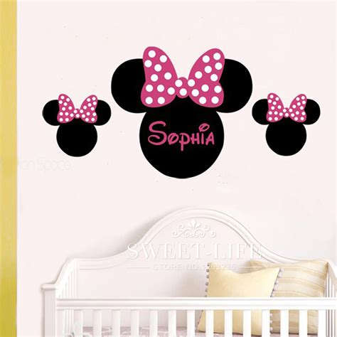 28 pink minnie mouse wall stickers get cheap
