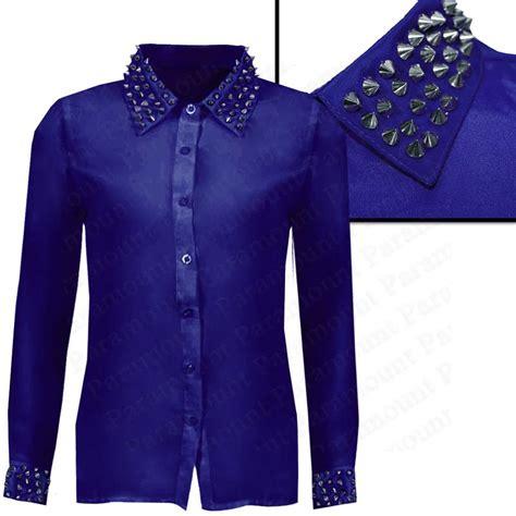 Spike 8 Blouse studded spike collar cuff designer silky fashion shirt