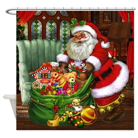 santa claus bathroom set santa claus shower curtain by gatterwe