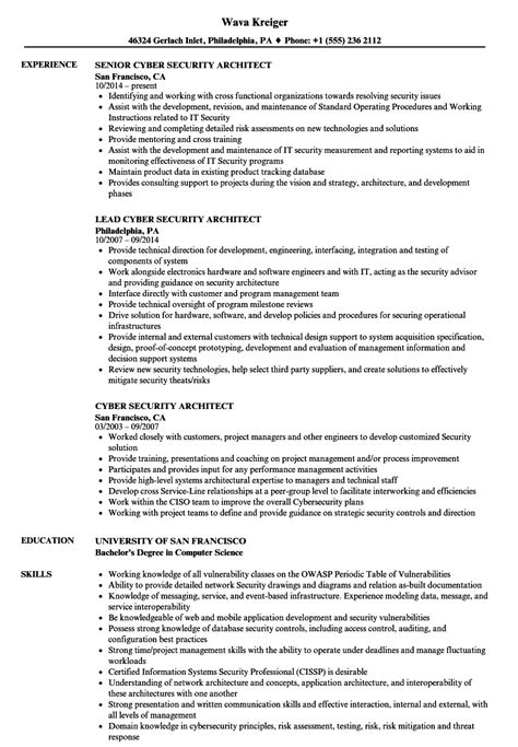 Cyber Security Resume by Cyber Security Architect Resume Sles Velvet