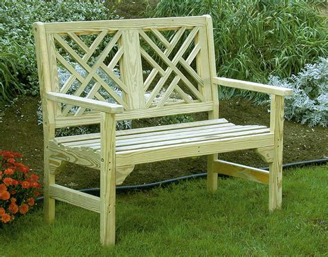 pine garden bench 46 quot treated pine chippendale garden bench