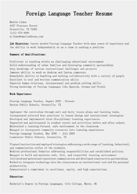 resume format for foreign resume sles foreign language resume sle