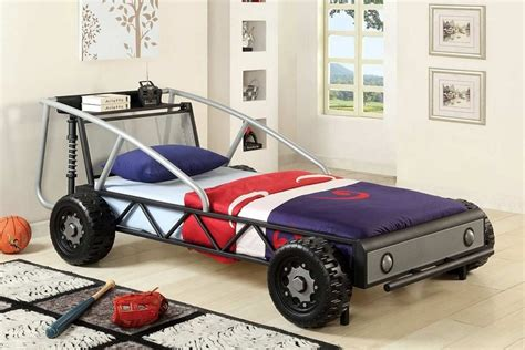 twin size silver and black race car design sturdy metal