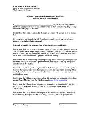 focus consent form template fillable academic evergreen sle focus