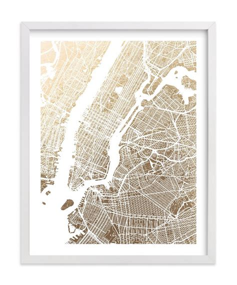 map of new york city framed new york city map foil pressed wall by alex elko