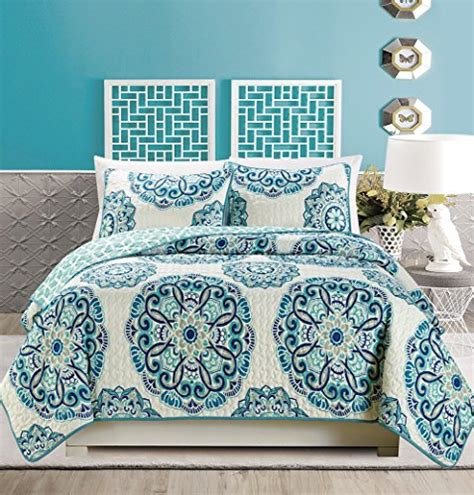turquoise coverlet king 3 piece fine printed quilt set reversible bedspread