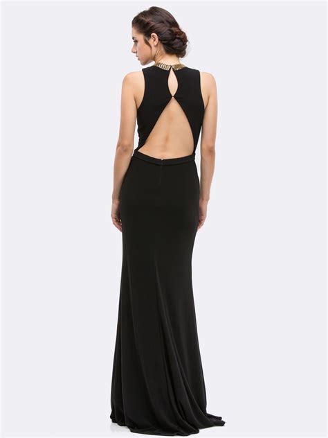 Bl V Slit v neck sleeveless evening dress with slit sung