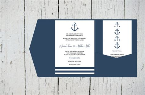 nautical wedding invitation template nautical pocket wedding invitation template set navy anchor