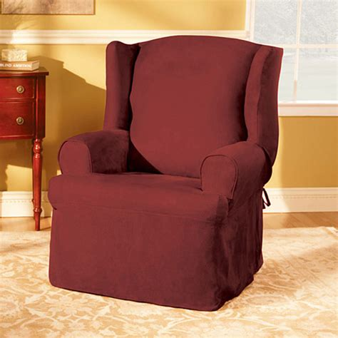 Walmart Chair Slipcovers sure fit soft suede wing chair slipcover walmart