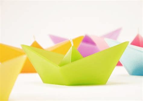 Origami Boat Candles - candles in shape of folded paper boat by ficek