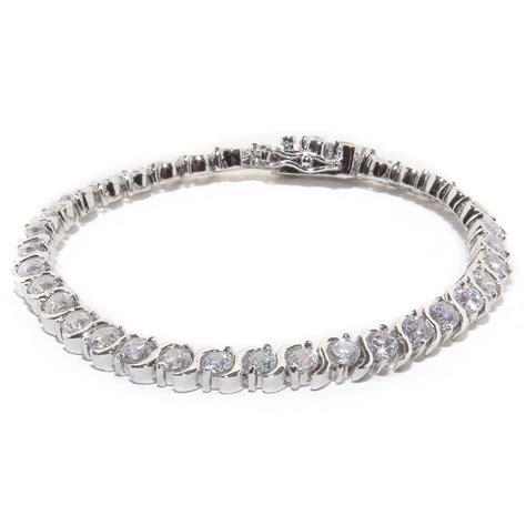 silver color rhodium plated brass clear cz tennis bracelet