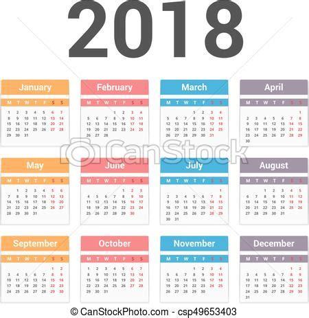 calendario clipart calendario 2018 semana eps10 comienzos lunes