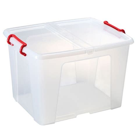 Storage Box With Lid staples plastic storage box with lid stackable clear 65 l