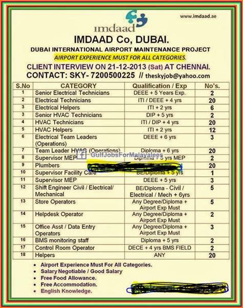 imdad company dubai airport maintenance project gulf jobs  malayalees